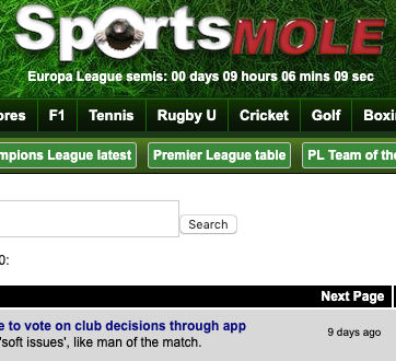 sports mole app sitebones